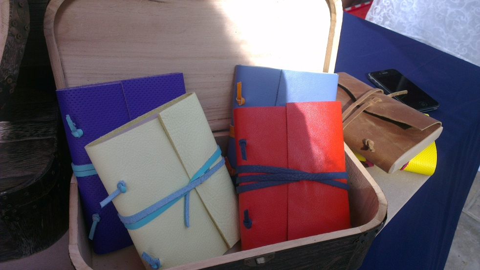 The books are made with leather and recycled paper